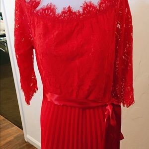 Dresses & Skirts - Red lace and pleased evening gown